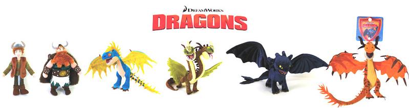 Lot des 6 personnages principaux du film dragon - Peluche furie nocturne ...
