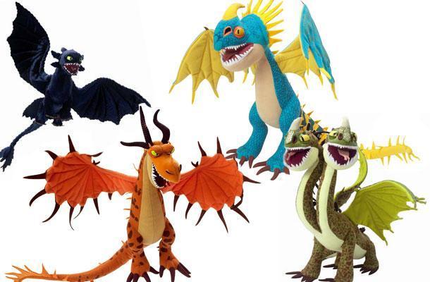 Lot de 4 dragons grande taille - Peluche furie nocturne ...