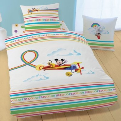 drap housse disney mickey rainbow 90 x 190 200 plushtoy. Black Bedroom Furniture Sets. Home Design Ideas