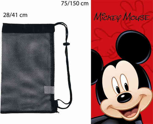 Drap de Plage Disney Mickey + sac de transport 75 x 150 cm