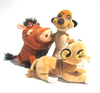 Lot de 3 Peluches Disney Roi Lion Timon + Pumba + Simba 20 cm