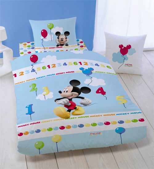 parure housse de couette disney mickey 1 2 3 140 x 200. Black Bedroom Furniture Sets. Home Design Ideas