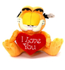 Peluche Garfield Assis 20 cm avec coeur I love you extra doux