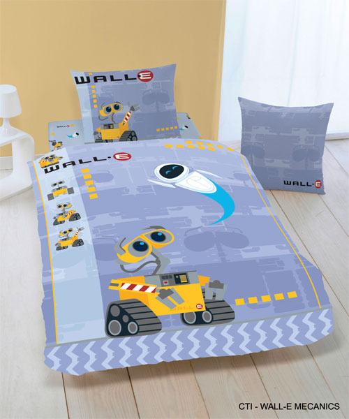 parure housse de couette disney wall e en flanelle 140 x 200 cm taie d 39 oreiller 63 x 63 cm. Black Bedroom Furniture Sets. Home Design Ideas