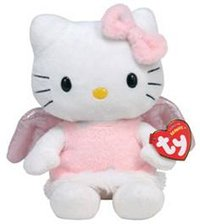 Peluche Hello Kitty Ange Rose 16 cm assise