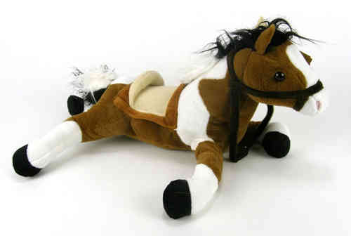 Peluche Cheval réaliste allongé 45 cm de long