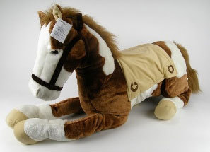 Peluche Cheval réaliste allongé 65 cm de long marron