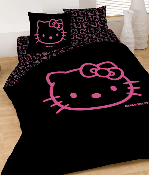 parure housse de couette hello kitty black fuchsia 240 x. Black Bedroom Furniture Sets. Home Design Ideas