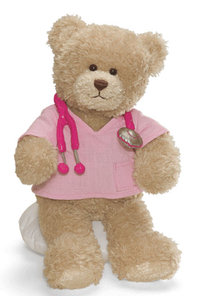 Peluche Gund Ours Docteresse Rose 26 cm