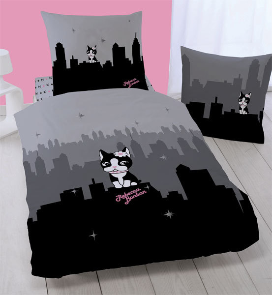 Drap housse rebecca bonbon new york 90 x 190 cm plushtoy for Drap housse new york