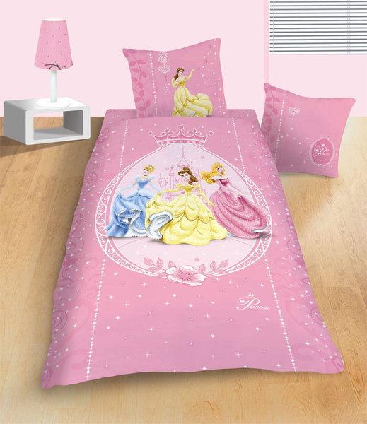 parure housse de couette disney princesses m daillon 140x200 cm. Black Bedroom Furniture Sets. Home Design Ideas