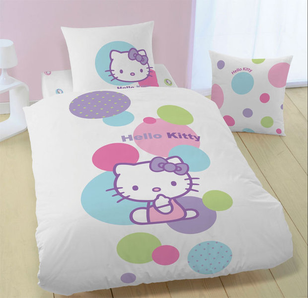parure housse de couette hello kitty white balloon 140x200 cm. Black Bedroom Furniture Sets. Home Design Ideas