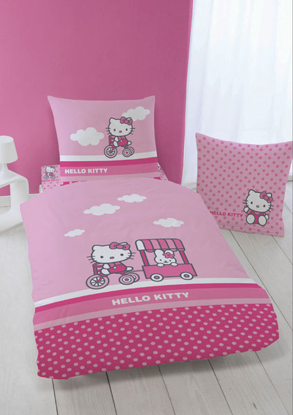 Decoration de chambre Linge lit Housse couette Hello Kitty