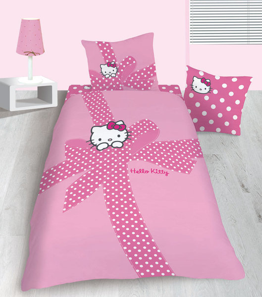 parure housse de couette hello kitty plumetis 1 place plushtoy. Black Bedroom Furniture Sets. Home Design Ideas