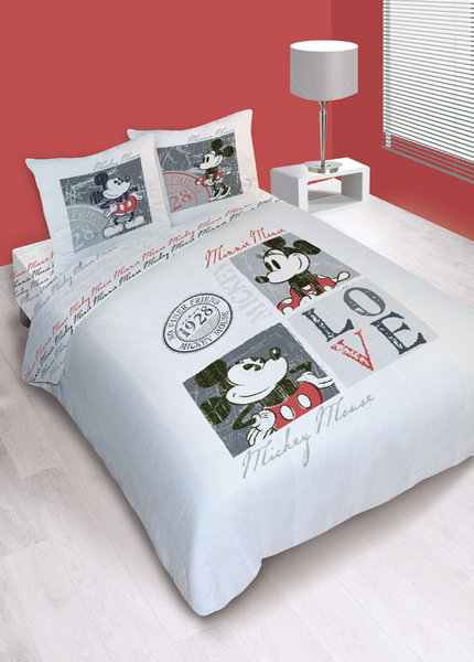 parure house de couette disney mickey love vintage plushtoy. Black Bedroom Furniture Sets. Home Design Ideas