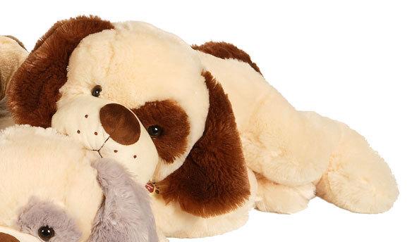 peluche chien spot cri 60 cm beige marron fonc. Black Bedroom Furniture Sets. Home Design Ideas