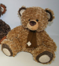 Peluche Ours Patch 90 cm Marron Clair