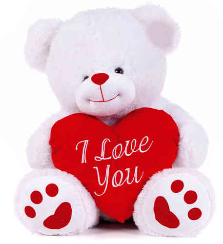Peluche Ours Blanc Love 80cm