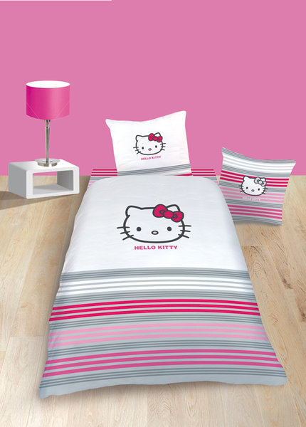 parure housse de couette hello kitty sarah white 1 place plushtoy. Black Bedroom Furniture Sets. Home Design Ideas