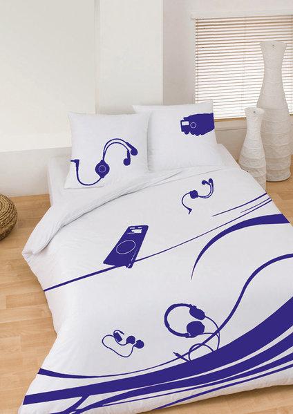 parure housse de couette musique nomade addict bleu. Black Bedroom Furniture Sets. Home Design Ideas