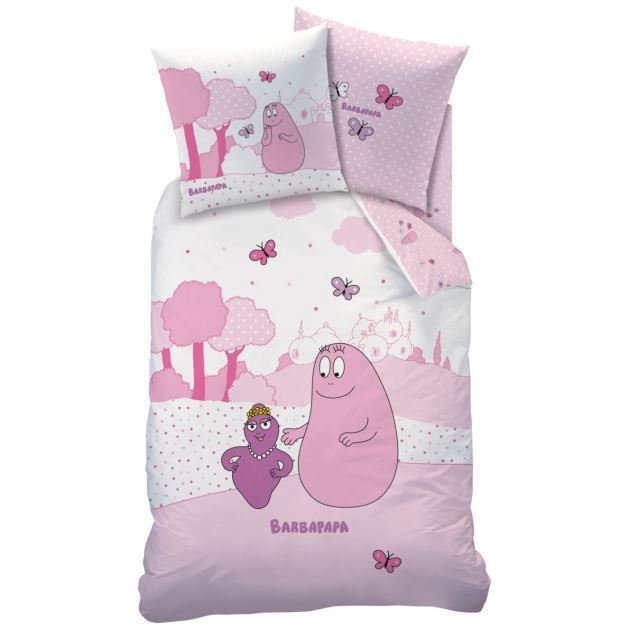 Parure housse de couette barbapapa pink world 140 x 200 cm taie - Housse de couette lapin cretin ...