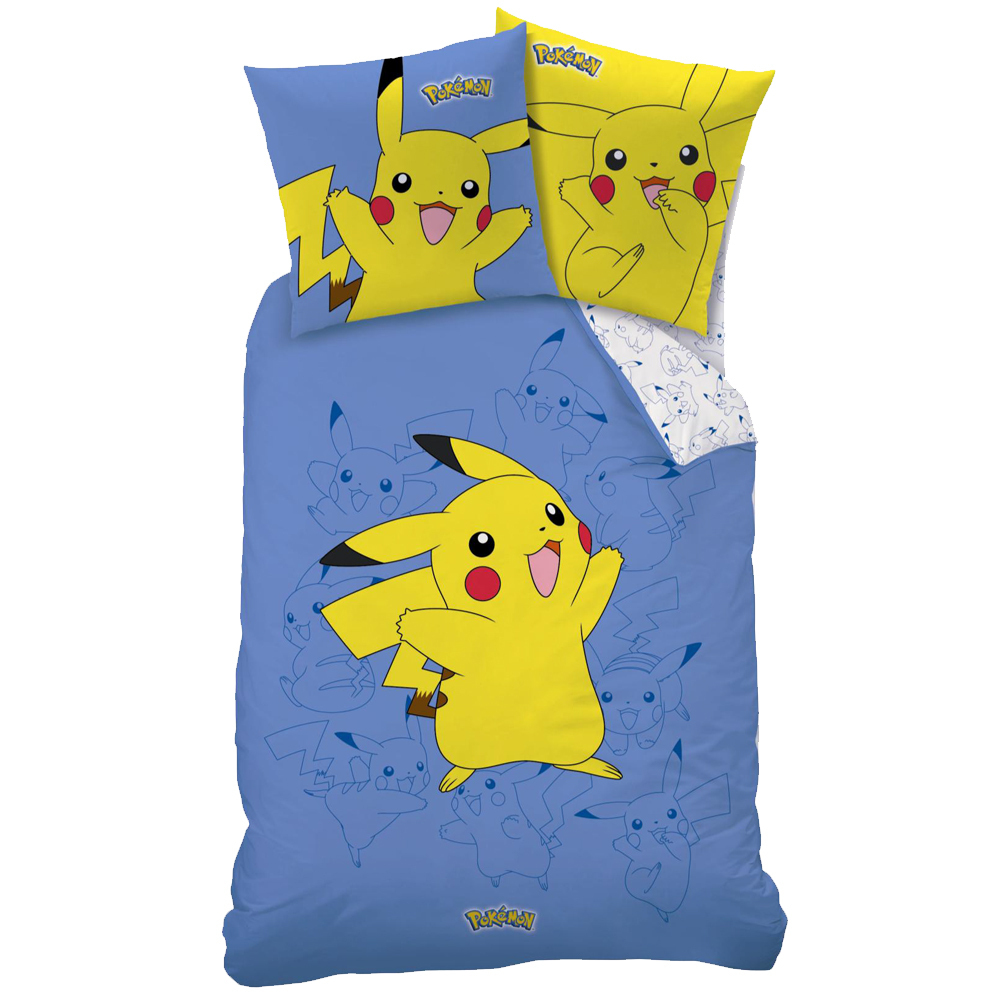 housse de couette pokemon pikachu 140 x 200 cm taie. Black Bedroom Furniture Sets. Home Design Ideas