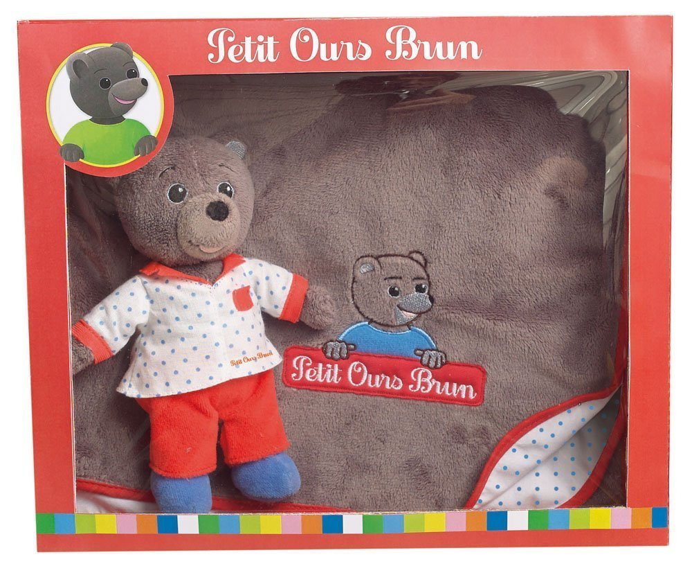 coffret petit ours brun peluche couverture plushtoy. Black Bedroom Furniture Sets. Home Design Ideas