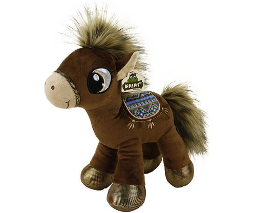 Peluche cheval natural 66 cm debout marron