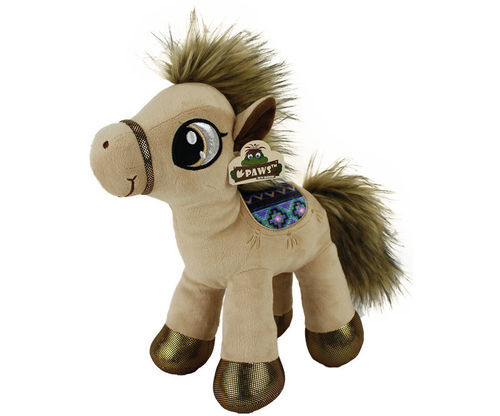 Peluche cheval natural 66 cm debout beige clair
