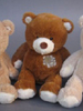 Peluche ours patch 25 cm Marron