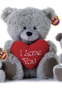 Peluche ours I love you Gris  75 cm