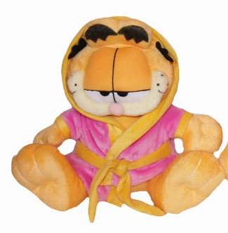 Peluche Garfield en peignoir rose 25 cm