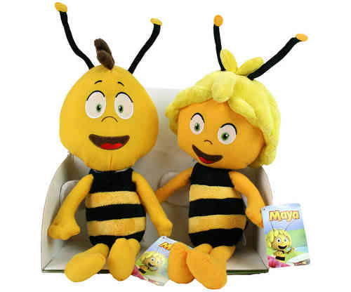 Lot de 2 peluches Maya l'abeille et Willy 45 cm